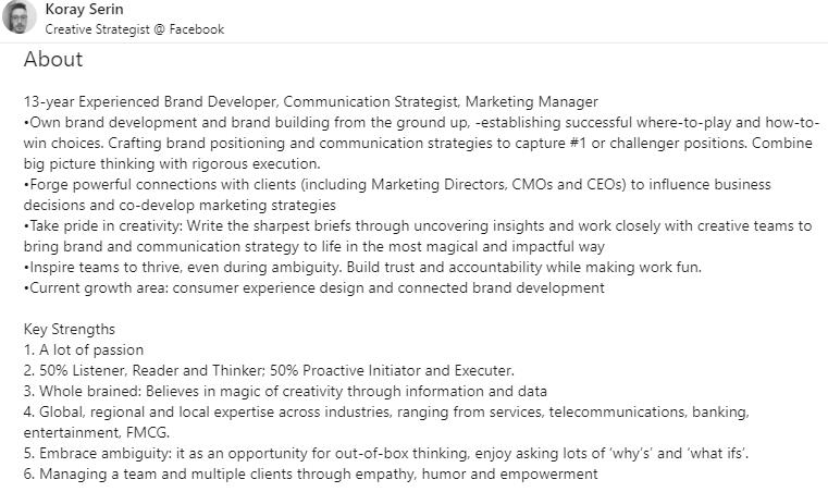 Objective for Your LinkedIn Profile example