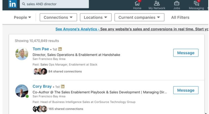AND searches in Linkedin